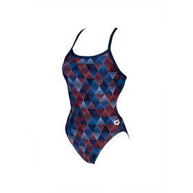 arena Linear Triangle Challenge Back One Piece Swimsuit Dames, red multi/navy